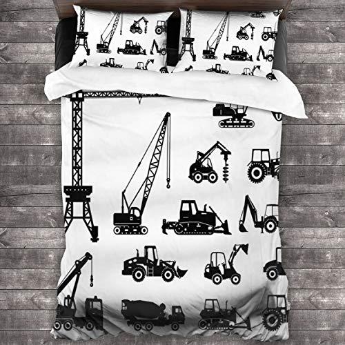 BEITUOLA Juego de Funda nórdica,Construcción Siluetas Negras Máquinas Mezcladoras De Hormigón Conjunto Industrial Camiones Tractores Blanco Negro Decorativo,140 x 200cm