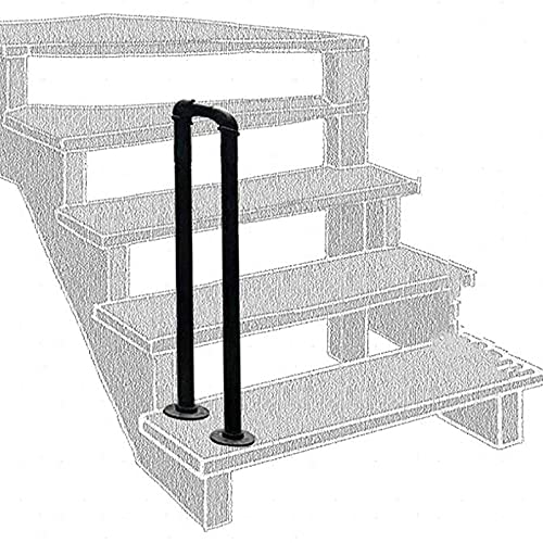 Barandilla de seguridad en forma de U, barandilla negra de 1 paso para soporte de jardín interior, barandilla de seguridad para ancianos, 1 paquete (70 cm / 2,2 pies)