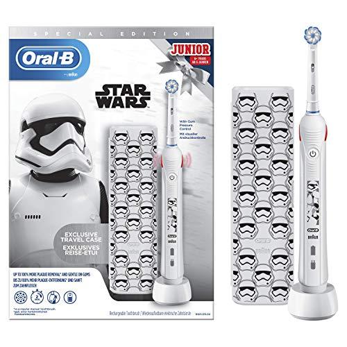 Oral-B Junior Spazzolino Elettrico Ricaricabile, 1 Manico con Personaggi di Star Wars, 1 Testina, 1 Custodia da Viaggio, per Età da 6 anni, Idea Regalo Natale