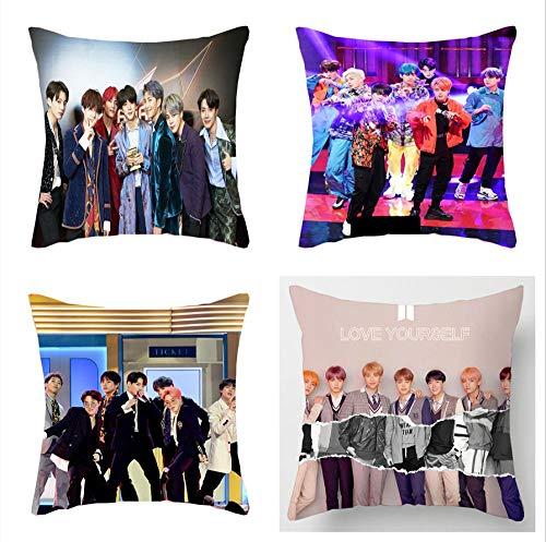 BZPKF BTS Funda de cojín de 45 x 45 cm, 4 Fundas de Almohada BTS, para Decorar el sofá del hogar Moderno, el Dormitorio, la Sala de Estar, el cumpleaños, el día de la Madre,Regalos para Mujeres.