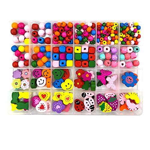 Cisurt Perle Legno Colorate 300 pezzi Perline di Legno Perline per Collane in Legno Perline Legno Colorate Perline per Collane Perline in Legno per Fare Gioielli Fai da Te