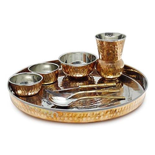 Indianbeautifulart Vajilla Tradicional Indio de la porción de Cobre Thali Set Accesorios de Cocina 1 Set
