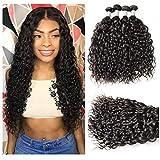 XYHair Brazilian Virgin 4 bundles Water Wave Human bundles Remy Hair Weave Extensions Wet And Wavy Top Quality 100% Unprocessed natural wave Hair bundles Natural Black(20202020)