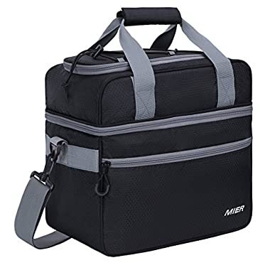 MIER Double Compartment Cooler Bag Large Insulated Bag for Lunch, Picnic, Beach, Grocery, Kayak, Travel, Camping, Black