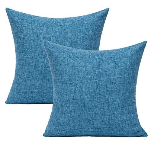 All Smiles Juego de 2 fundas de cojín de 40 x 40 cm, color puro, de lino, con cremallera oculta, para sofá, coche, sillón, cama, dormitorio (azul oscuro)