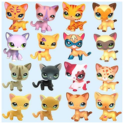 Emmas lps Short Hair Cat (4pcs Random Pets & 6pcs lps Accessories Random) lps Yellow Gray Black Orange Short Hair Cat Kitty Rare Figures Collection Best Gift for Kids Collectable Figures