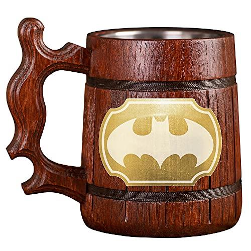 Batman Animated Series Beer Stein, Batman Cartoon Wooden Beer Mug, Custom Beer Stein, Gamer Gift, Gamer Tankard, Gift for Men, Gift for Him
