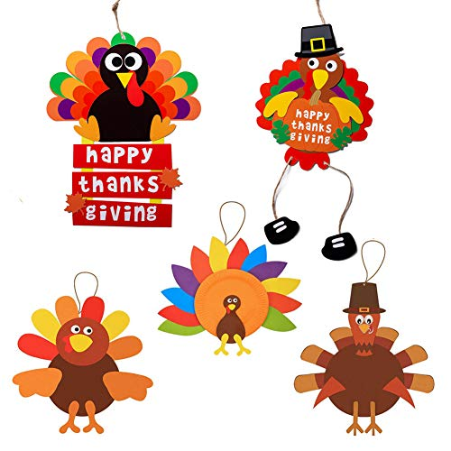 Turkey Craft Kits Thanksgiving & Autumn |Thankful Turkey Making Kit |DIY Festive Fall Thanksgiving Party Game |Door Hanging Ornament Decoration Supplies for Kids and Adults (5 Set Hanging)