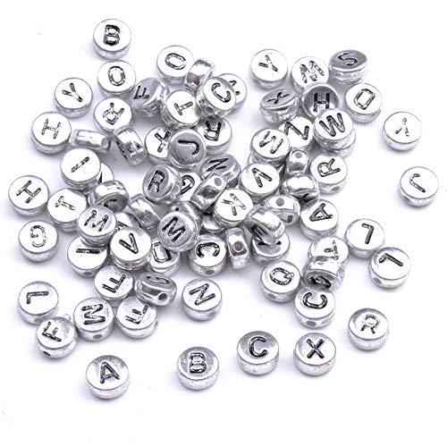YJYJ Letras Alfabeto Beads 4 * 7mm Redondo Perlas De Acrílico DIY Accesorios De Joyería (Plata) 100pcs