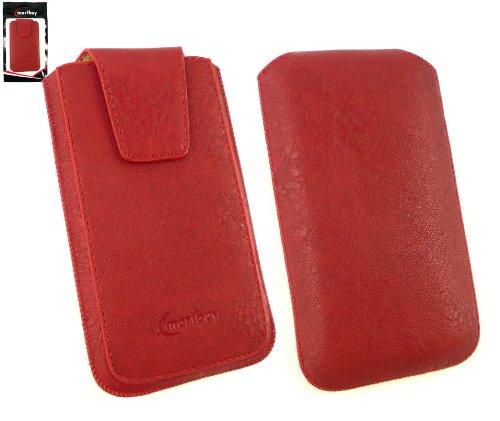 emartbuy® Klassischer Serie Rot Luxury PU Leder Tasche Hülle Schutzhülle Hülle Cover (Größe 3XL) Mit Ausziehhilfe Geeignet für Jiayu G4 / Jiayu G4c / Jiayu G4s