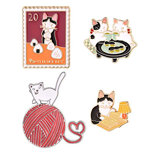 FaithHeart 4 Stück Katze Ribbon Mädchen Katze Brosche für Kinder Mädchen Katzelieber Weihnachten Geschenke