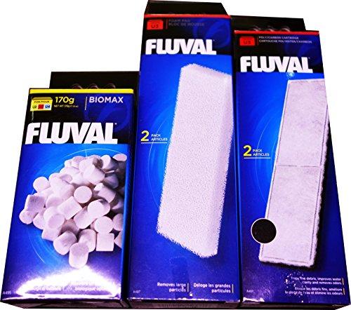Filter-Set A491,Poly-Kohlenstoff-Kartusche, A487-Filter-Schaumstoff-Polster und A495-Biomax für Fluval A475-U3-Filter (U3-Poly/Kohlenstoff, Schaumstoff und Biomax-Filter-Set)