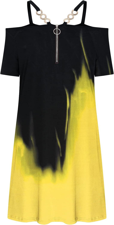 CofeeMO Women's Sexy Dress Off Shouder Hollow Out Halter Zipper Short Sleeve Tie-Dye Printed 263