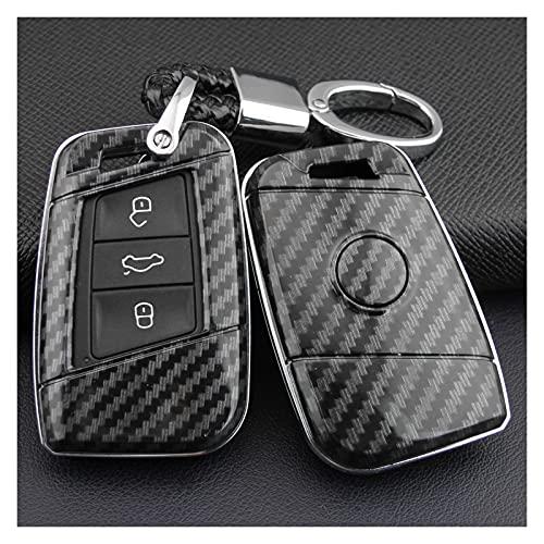 SHUAI Ajuste para Volkswagen Passat B8 Arteon Atlas Teramont New Jetta Smart Car Key Fob Cadena Cubierta Caso CASHA contra Fibra DE Carbono