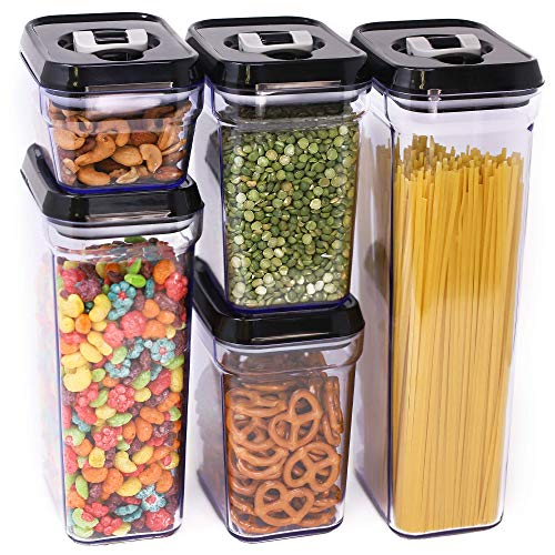 Zeppoli Air-Tight Food Storage Container Set | 5-Piece Set - Durable Plastic - BPA Free - Clear Plastic with Black Lids (2.0 qt/2.3 liters) (1.5 qt./1.7 liters) (0.9qt/1.0 liter) (0.35qt/ 0.38 liter)