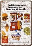 HONGXIN Fisher Price McDonalds Toy Happy Meal - Cartel de metal vintage para decoración de hogar, bar, bar, garaje, regalos, banda, cerveza, huevos, café, granja, jardín