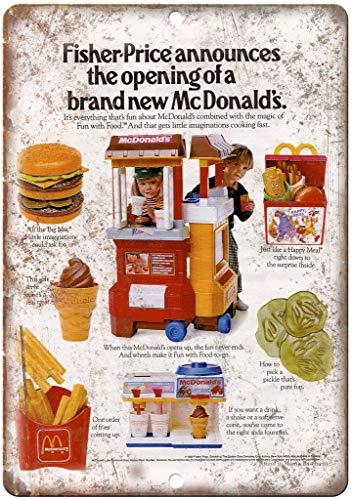 Fisher Price Mcdonalds Toy Happy Meal Cartel de Chapa Retro, Cartel de...