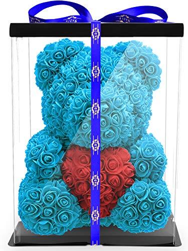 NADIR Blumenbär mit Herz/inklusive vorverpackter Geschenkbox Größen/Valentinstag Muttertag Geburtstag Jahrestag Jubiläen Infinity Rosebear Bär mit Rosen...