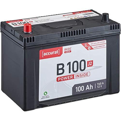 Accurat 12V 100Ah Asia Auto-Batterie Starter wartungsfreier Blei-Säure-Akku Basic-Serie B100 J2 (Pluspol links)