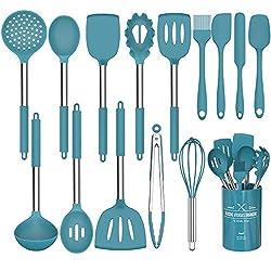 powerful Umiten Chef Kitchen Set, 15 Piece Silicone Kitchen Set (Dark Blue)