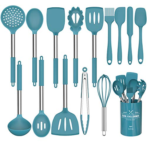 15 Pcs Silicone Cooking Utensils Kitchen Utensil Set - Umite Chef 446°F Heat Resistant Stainless Steel Handles Kitchen Gadgets Tools Set for Nonstick Cookware(Blue)