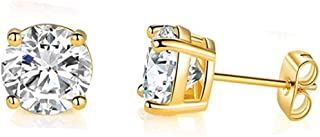 GEMSME 18K Yellow Gold Plated 4.0mm Round Cubic Zirconia Stud Earrings