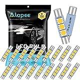 ALOPEE - 20-Pack 50 Lumens Warm White 30MM(1.18') - 31MM(1.25') 12V LED Festoon Light 5050 3-SMD Sun Visor Vanity Mirror LED Bulbs for Vehicle 6615F 6614F 3021 3022 3175 T-2 SF6/6 (Warm White)