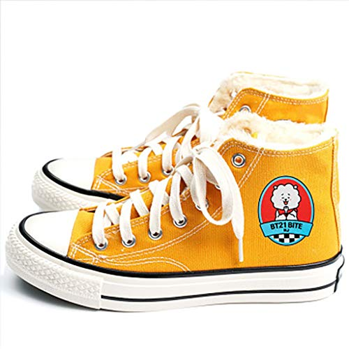 HJJ® Zapatos bts Kpop colores del caramelo Calzado del Alto-top, Carácter BTS de dibujos animados de impresión y revestimiento de felpa de invierno ata for arriba los calzados informales de los estudi