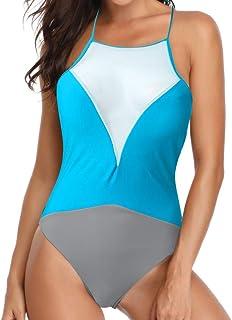 Surfiiy badpak voor dames monokini met gebreid netto eendelig badpak, kleur blokkeert vintage Capestro badpak