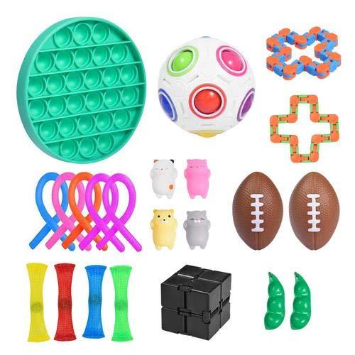 Ewha Sensory Fidgets Toys 22 Pack Fidget Sensory Toy Set Stress Relief Toys Push Pop Bubble Anti Stress Toys