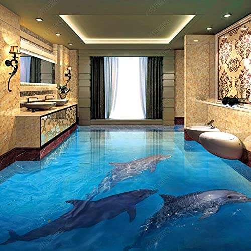 Etiqueta engomada del piso 3D Dolphin Ocean World Baño Sala de estar azulejos impermeables pegatinas de piso de vinilo mural-250x175cm