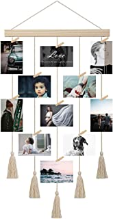 JAGOGOHOME Hanging Photo Display with Macrame, Boho Decorative Wall Hanging Pictures Organizer, Perfect for Home Decor, with 20 Wooden Clips (A-White)