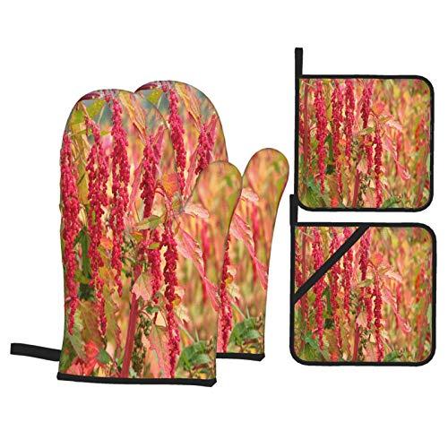 Juego de 4 Guantes y Porta ollas para Horno Resistentes al Calor Granja de árboles de quinua roja para Hornear en la Cocina,microondas,Barbacoa
