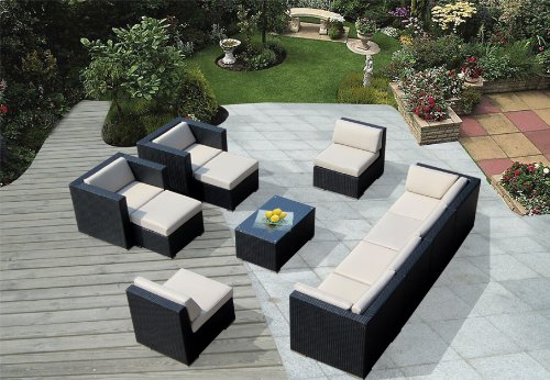 Hot Sale ohana collection PN1005 Genuine Ohana Outdoor Patio Wicker Furniture 11-Piece All Weather Gorgeous Couch Set with Free Patio Cover