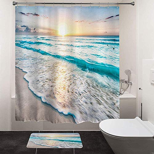 "HIYOO Shower Curtain Sets for Bathroom, Tropical Ocean Beach Shower Curtains, Sea Coast Seashore Seaside Waves Bathtub Shower Curtain with Hooks, Blue Waterproof Fabric - Sunrise 72"" W x 72"" L"