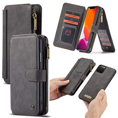 Portefeuille hoes voor iPhone 11 Pro Max 6,5-inch, Caseme lederen ritssluiting flip case met afneembare achterkant case, magneetknoppen, standaard, 13x creditcardvakjes en fotolijst (zwart)