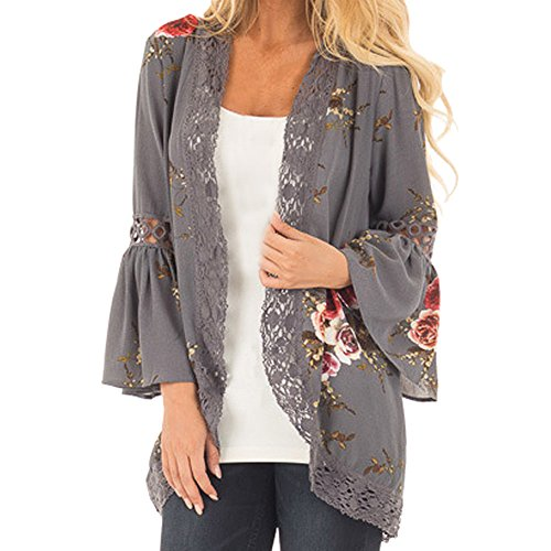 WOCACHI Womens Kimono Cardigan, Lace Floral Open Cape Casual Loose Blouse Kimono Jacket Cover Up L 2020 Summer Under 25 Dollars New Deals Sales Bargains