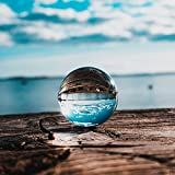 Siumir K9 Bola de Cristal Bola de Vidrio Transparente 80 mm Bola de Lente con Soporte para Decoración, Meditación, Fotografía (80)