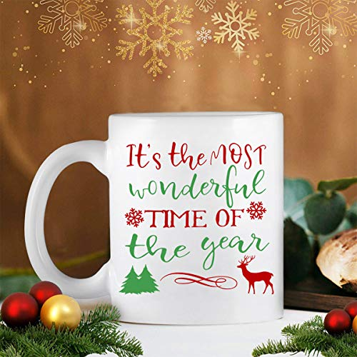 Christmas Coffee Mug It's the Most Wonderful Time of the Year Funny Coffee Mugs Deer Snowflake Xmas Trees Holiday Decorative Unique Christmas Gifts for Family Friends Men Women or Daily Use 11 Ounce