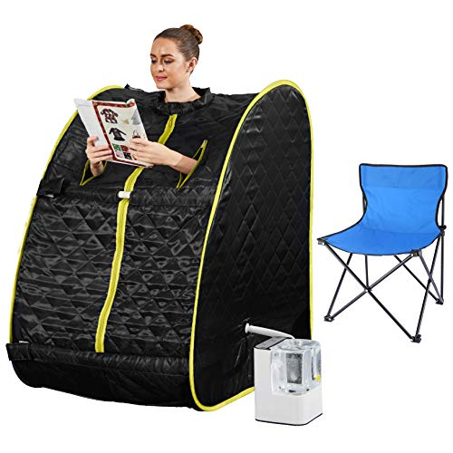 Mauccau Portable Steam Sauna for Home Personal Steam Sauna Spa for Weight Loss Detox Relaxation, 2.5L Sauna Tent with Foldable Chair Timer Remote Control (Black-Yellow)
