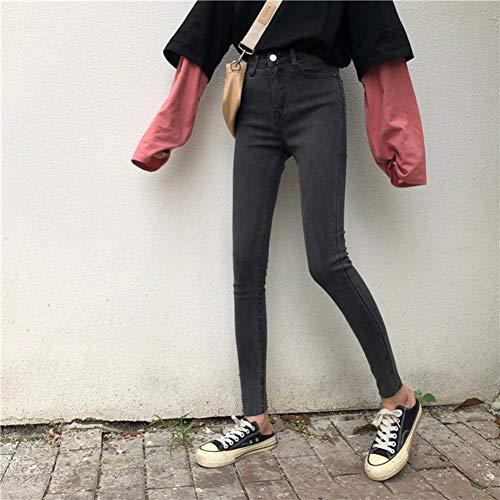 YSDSBM Jeans Mujeres Slim Elastic High Waist Pencil Mujeres Jean Harajuku All-Match Simple hasta el Tobillo Ocio De Moda