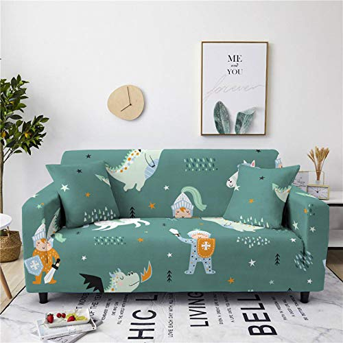 Stretch Sofa Couch Covers Elastic Fabric Cartoon Kids Pattern All-Inclusive Loveseat Cover Anti-Slip Tight Wrap Settee Slipcover For Furniture Decor,2,Seat 145,185cm