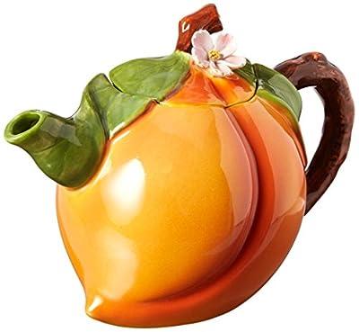 Cosmos Gifts Peach Ceramic Teapot, 4-5/8-Inch