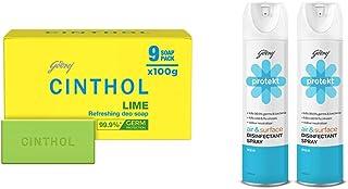Cinthol Lime Bath Soap - PO9 (100g) & Godrej Protekt Disinfectant Spray, Aqua - PO2 (240ml each)
