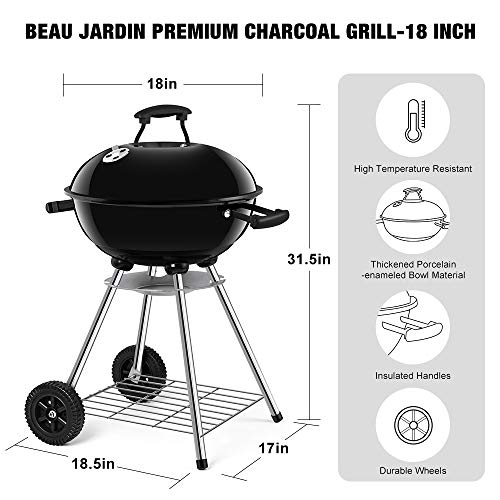 Portable Charcoal Grill for Outdoor Grilling 18inch Barbecue Grill and Smoker Heat Control Round BBQ Kettle Outdoor Picnic Patio Backyard Camping Tailgating Steel Cooking Grate for Steak Chicken