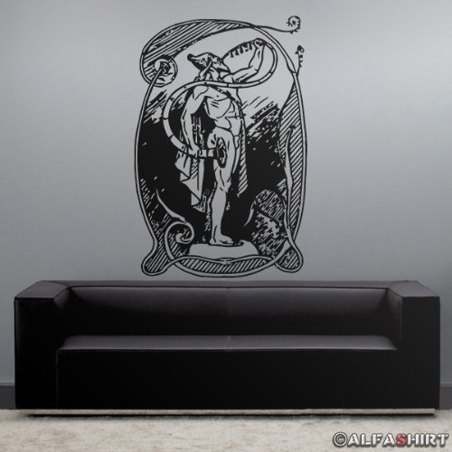 Copytec Heimdall The whitest of The Gods Wikinger Mythologie Geschichte Gott Raben Wolf - Aufkleber Tattoo Wandtattoo Wandbild (schwarz ca. 45x68cm) #7734