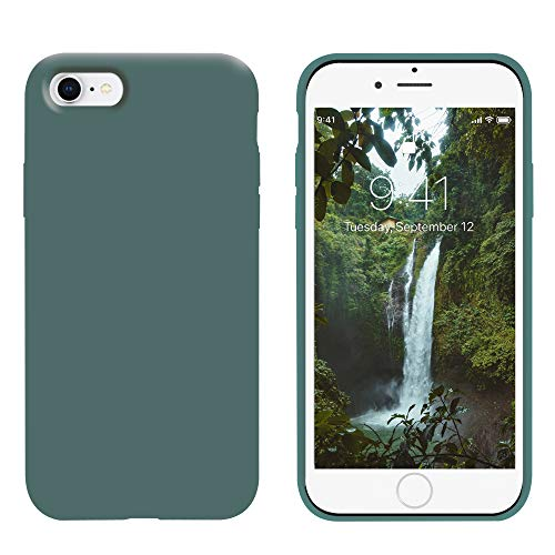 OTOFLY iPhone 8 Case,iPhone 7 Case,Ultra Slim Fit iPhone Case Liquid Silicone Gel Cover with Full Body Protection Anti-Scratch Shockproof Case Compatible with iPhone 7/8,(Pine Green)