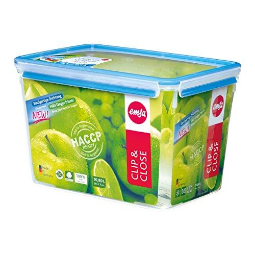 Emsa 508549 Contenitore per alimenti rettangolare con coperchio, 10,8 litri, trasparente / blu, Clip & Chiudi
