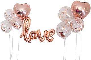 Autupy 9 PCS Rose Gold Confetti Balloons Set Including 12 Inches Confetti Balloons,18 Inches Foil Balloons,40 Inches Love Foil Balloons For Wedding Decoration Happy Birthday Balloons Party Supplies