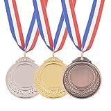 AHANDMAKER Medallas de Premio Oro Plata Bronce, 12 Pieza 3 Colores Medalla Deportiva Medallas de Ganador de Estilo...